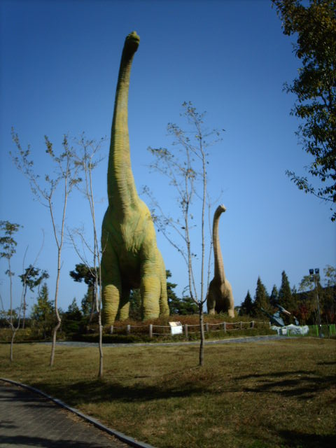 Long Necks in South Korean Dinosaur Park. xxx